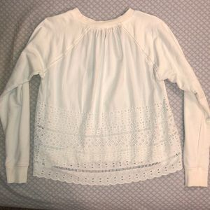 🐚White J.Crew w/ Lace Back🌸Spring🌸 Pullover🐚